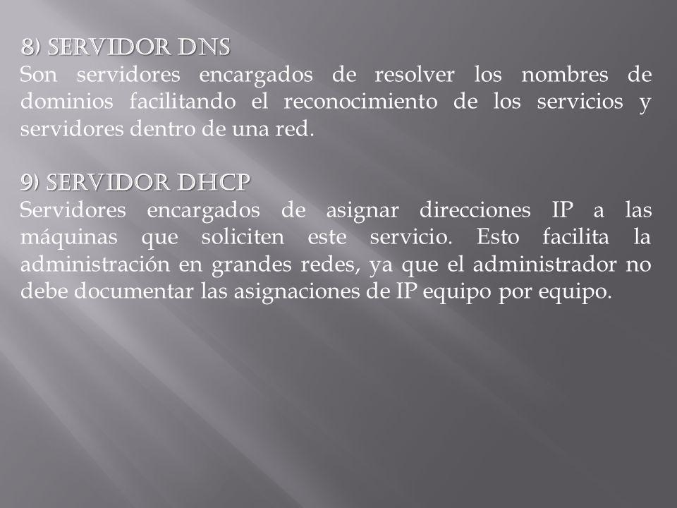 8) Servidor DNS Son servidores encargados de resolver los nombres de dominios facilitando el reconocimiento de los servicios y servidores dentro de un