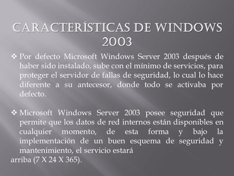 Características de Windows 2003 Por defecto Microsoft Windows Server 2003 después de haber sido instalado, sube con el mínimo de servicios, para proteger el servidor de fallas de seguridad, lo cual lo hace diferente a su antecesor, donde todo se activaba por defecto.