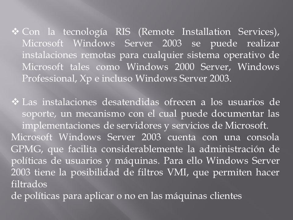 Con la tecnología RIS (Remote Installation Services), Microsoft Windows Server 2003 se puede realizar instalaciones remotas para cualquier sistema operativo de Microsoft tales como Windows 2000 Server, Windows Professional, Xp e incluso Windows Server 2003.