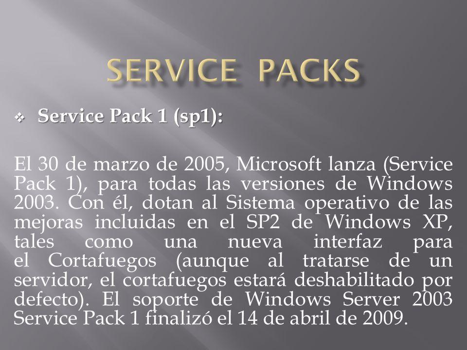 Service Pack 1 (sp1): Service Pack 1 (sp1): El 30 de marzo de 2005, Microsoft lanza (Service Pack 1), para todas las versiones de Windows 2003. Con él