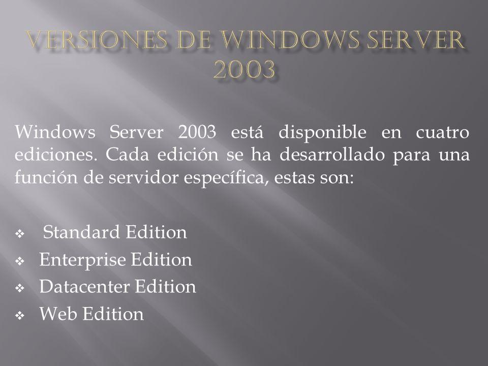 Windows Server 2003 está disponible en cuatro ediciones. Cada edición se ha desarrollado para una función de servidor específica, estas son: Standard