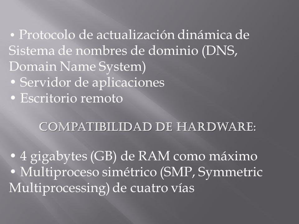 Protocolo de actualización dinámica de Sistema de nombres de dominio (DNS, Domain Name System) Servidor de aplicaciones Escritorio remoto Compatibilidad de hardware: 4 gigabytes (GB) de RAM como máximo Multiproceso simétrico (SMP, Symmetric Multiprocessing) de cuatro vías