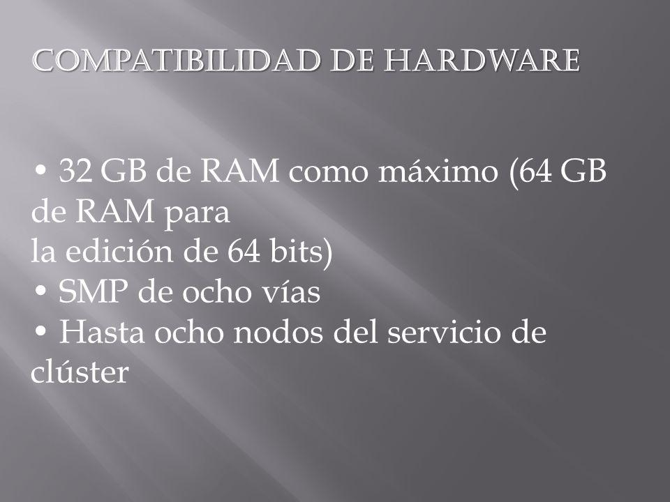 Compatibilidad de hardware 32 GB de RAM como máximo (64 GB de RAM para la edición de 64 bits) SMP de ocho vías Hasta ocho nodos del servicio de clúster