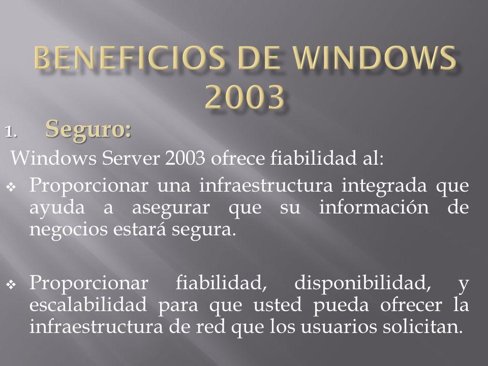 1. Seguro: Windows Server 2003 ofrece fiabilidad al: Proporcionar una infraestructura integrada que ayuda a asegurar que su información de negocios es