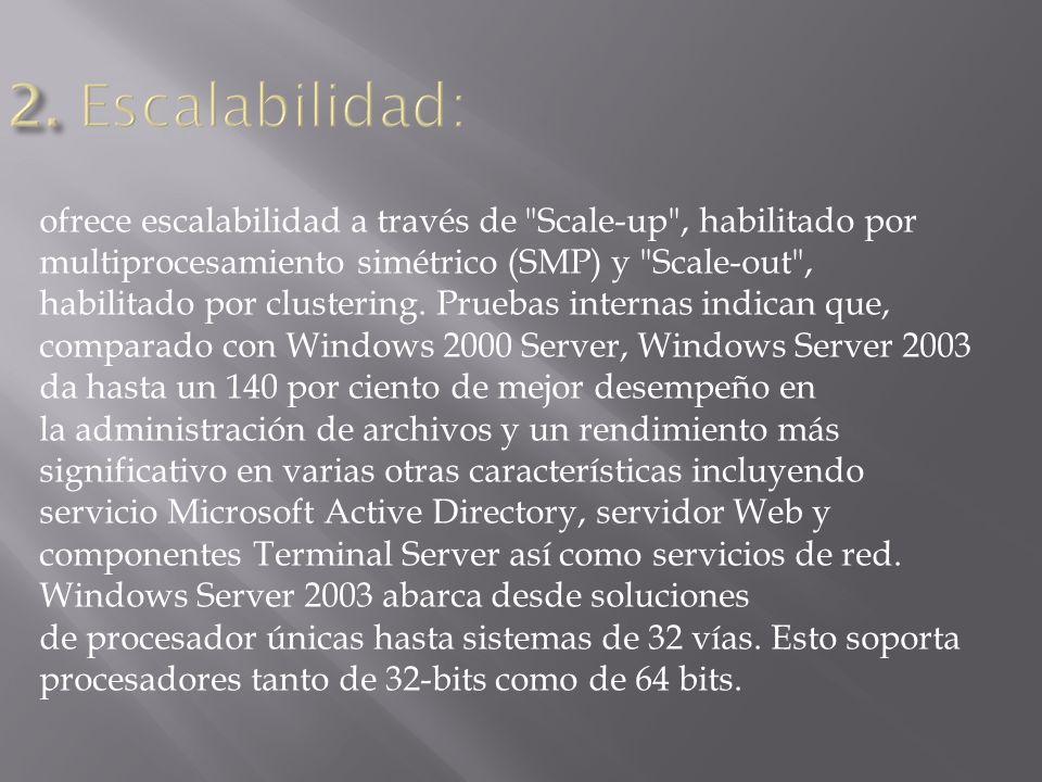 ofrece escalabilidad a través de Scale-up , habilitado por multiprocesamiento simétrico (SMP) y Scale-out , habilitado por clustering.