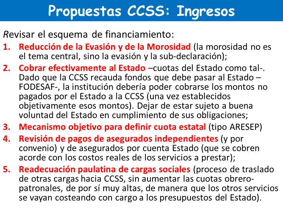 Propuestas CCSS: Ingresos Revisar el esquema de financiamiento: 1.Reducción de la Evasión y de la Morosidad (la morosidad no es el tema central, sino