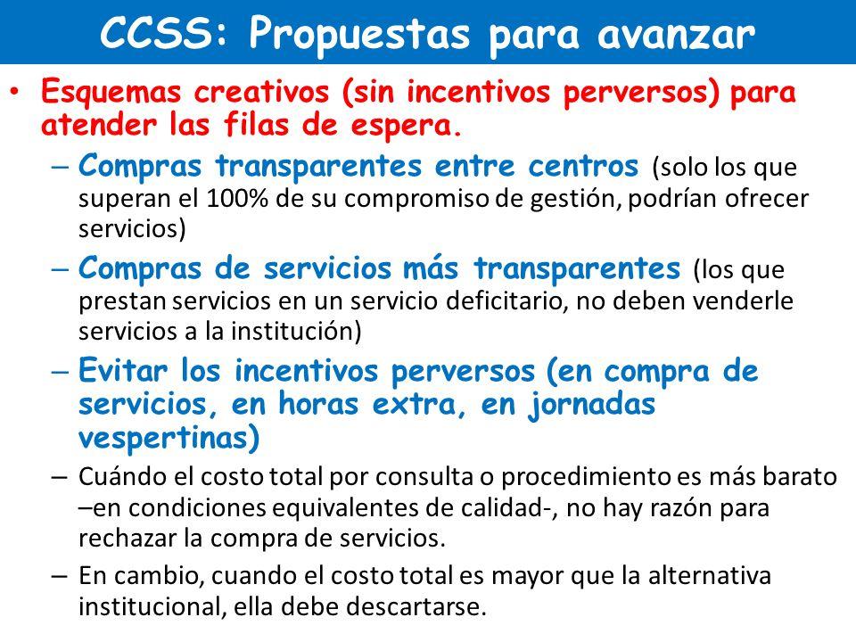 CCSS: Propuestas para avanzar Esquemas creativos (sin incentivos perversos) para atender las filas de espera. – Compras transparentes entre centros (s
