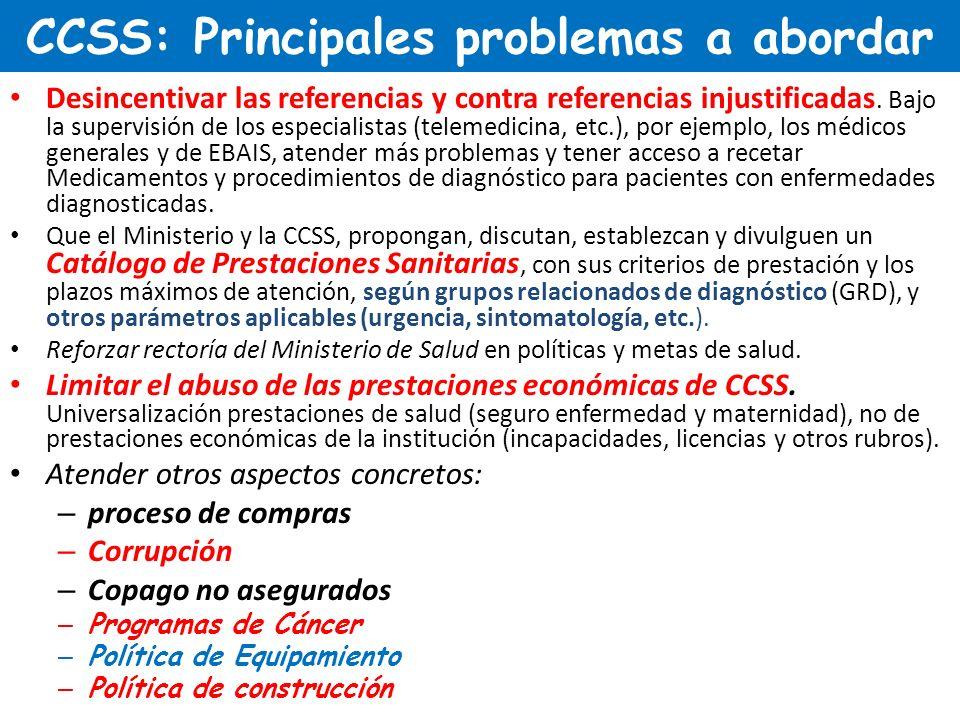 CCSS: Principales problemas a abordar Desincentivar las referencias y contra referencias injustificadas. Bajo la supervisión de los especialistas (tel