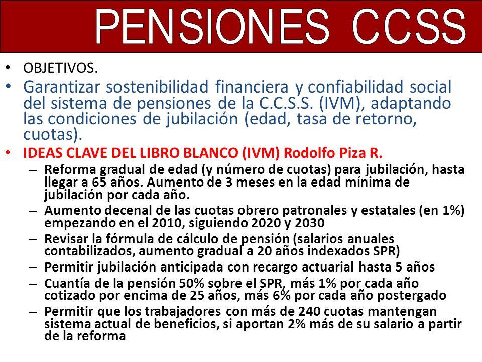 OBJETIVOS. Garantizar sostenibilidad financiera y confiabilidad social del sistema de pensiones de la C.C.S.S. (IVM), adaptando las condiciones de jub