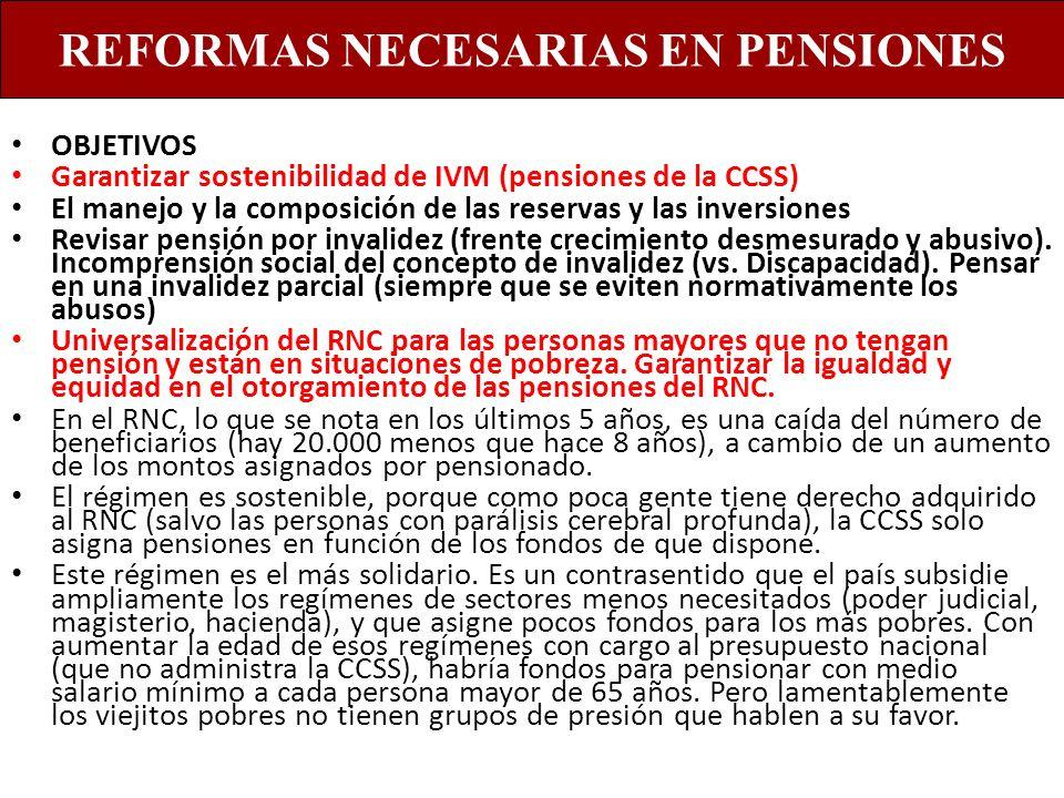 OBJETIVOS Garantizar sostenibilidad de IVM (pensiones de la CCSS) El manejo y la composición de las reservas y las inversiones Revisar pensión por inv