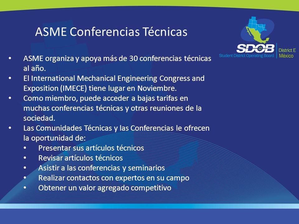 ASME Conferencias Técnicas ASME organiza y apoya más de 30 conferencias técnicas al año. El International Mechanical Engineering Congress and Expositi