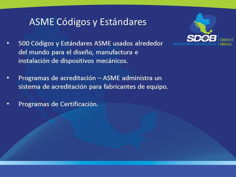 ASME Códigos y Estándares 500 Códigos y Estándares ASME usados alrededor del mundo para el diseño, manufactura e instalación de dispositivos mecánicos