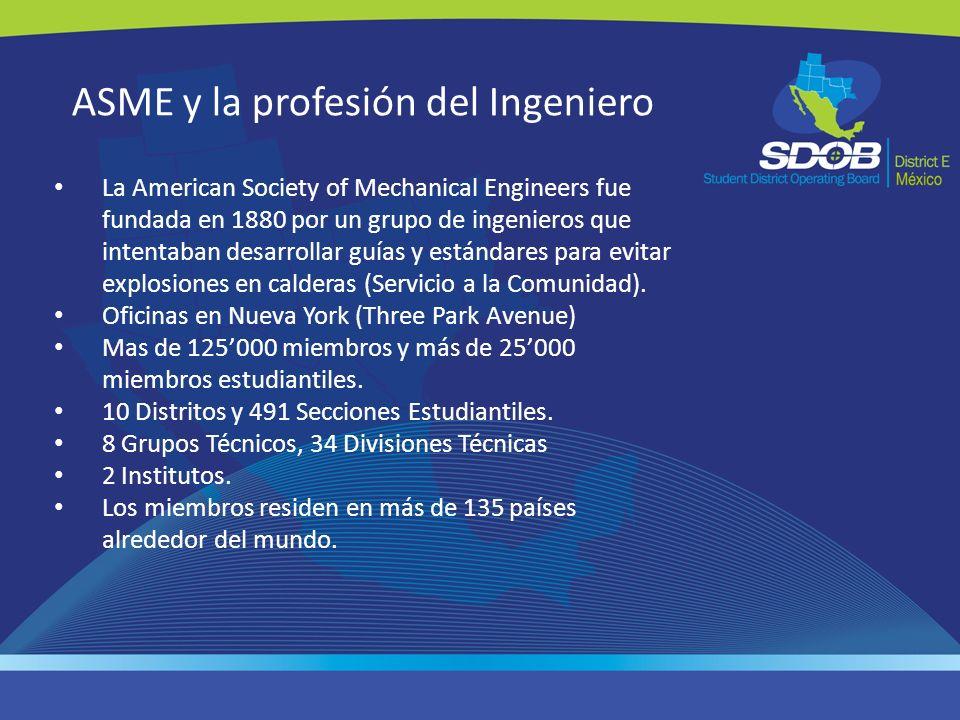 ASME y la profesión del Ingeniero La American Society of Mechanical Engineers fue fundada en 1880 por un grupo de ingenieros que intentaban desarrolla