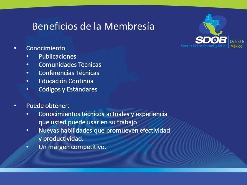 Beneficios de la Membresía Conocimiento Publicaciones Comunidades Técnicas Conferencias Técnicas Educación Continua Códigos y Estándares Puede obtener