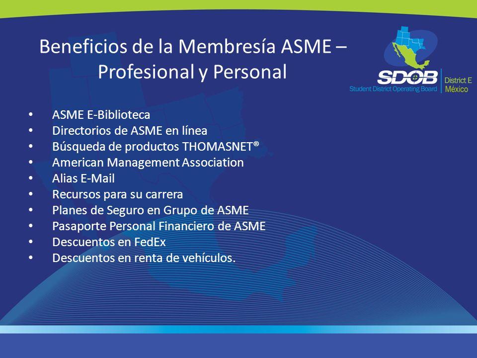 Beneficios de la Membresía ASME – Profesional y Personal ASME E-Biblioteca Directorios de ASME en línea Búsqueda de productos THOMASNET® American Mana