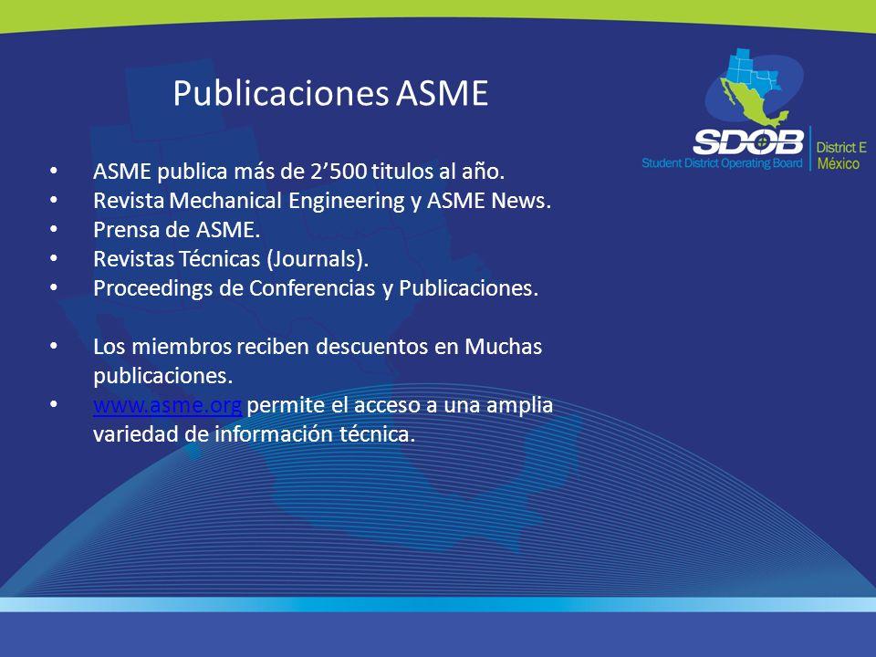 Publicaciones ASME ASME publica más de 2500 titulos al año. Revista Mechanical Engineering y ASME News. Prensa de ASME. Revistas Técnicas (Journals).