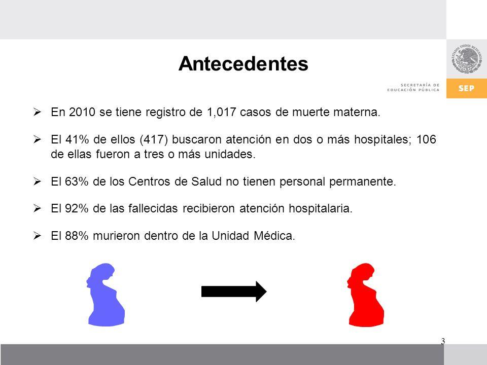 Antecedentes En 2010 se tiene registro de 1,017 casos de muerte materna. El 41% de ellos (417) buscaron atención en dos o más hospitales; 106 de ellas