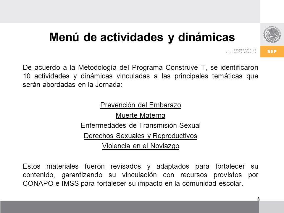 Menú de actividades y dinámicas De acuerdo a la Metodología del Programa Construye T, se identificaron 10 actividades y dinámicas vinculadas a las pri