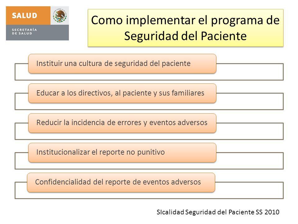 Como implementar el programa de Seguridad del Paciente Instituir una cultura de seguridad del pacienteEducar a los directivos, al paciente y sus famil