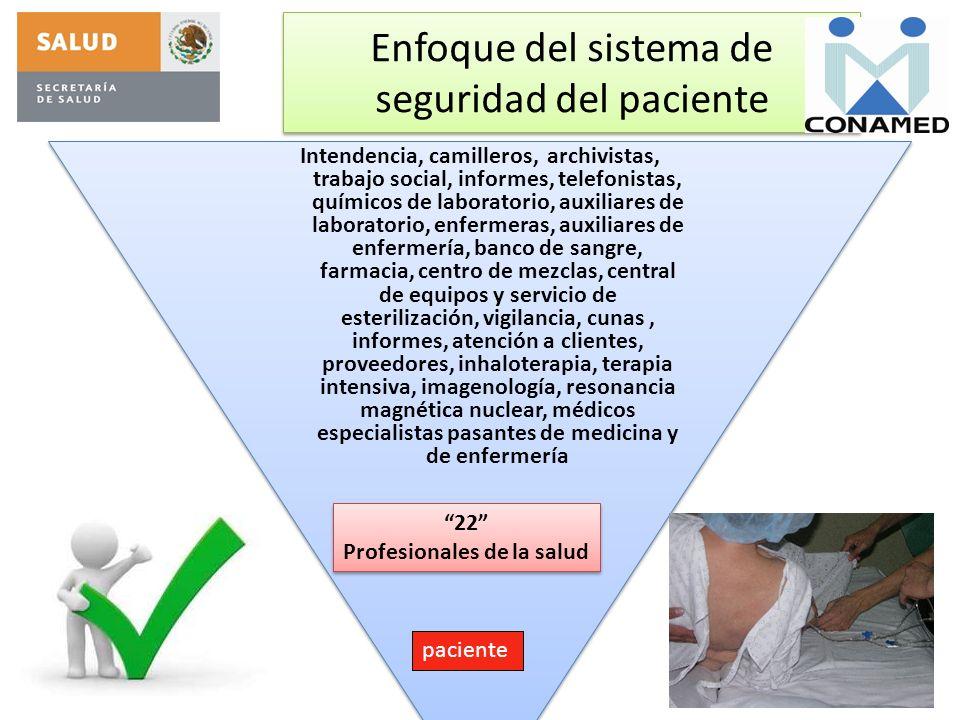 Enfoque del sistema de seguridad del paciente Intendencia, camilleros, archivistas, trabajo social, informes, telefonistas, químicos de laboratorio, a