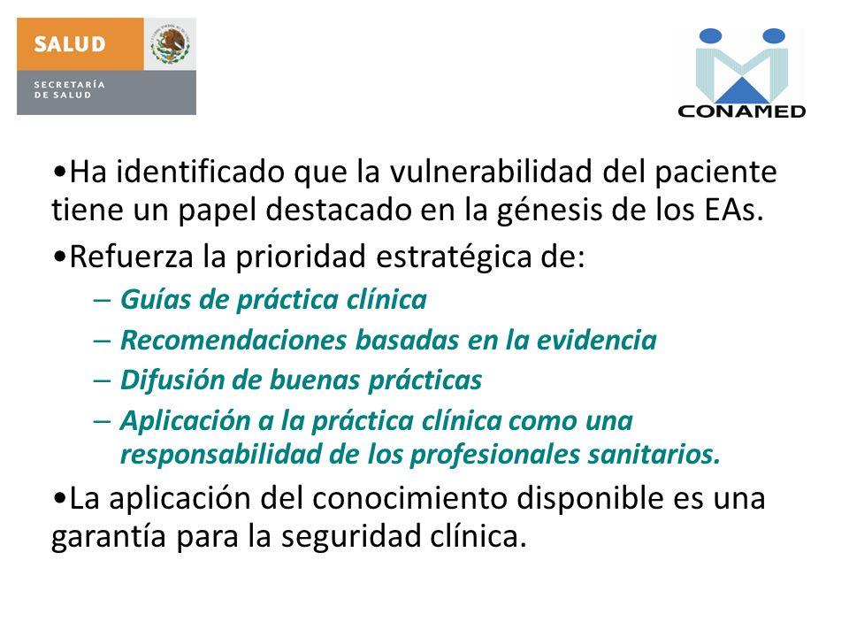 Ha identificado que la vulnerabilidad del paciente tiene un papel destacado en la génesis de los EAs. Refuerza la prioridad estratégica de: – Guías de