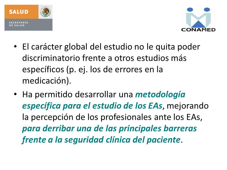 El carácter global del estudio no le quita poder discriminatorio frente a otros estudios más específicos (p. ej. los de errores en la medicación). Ha