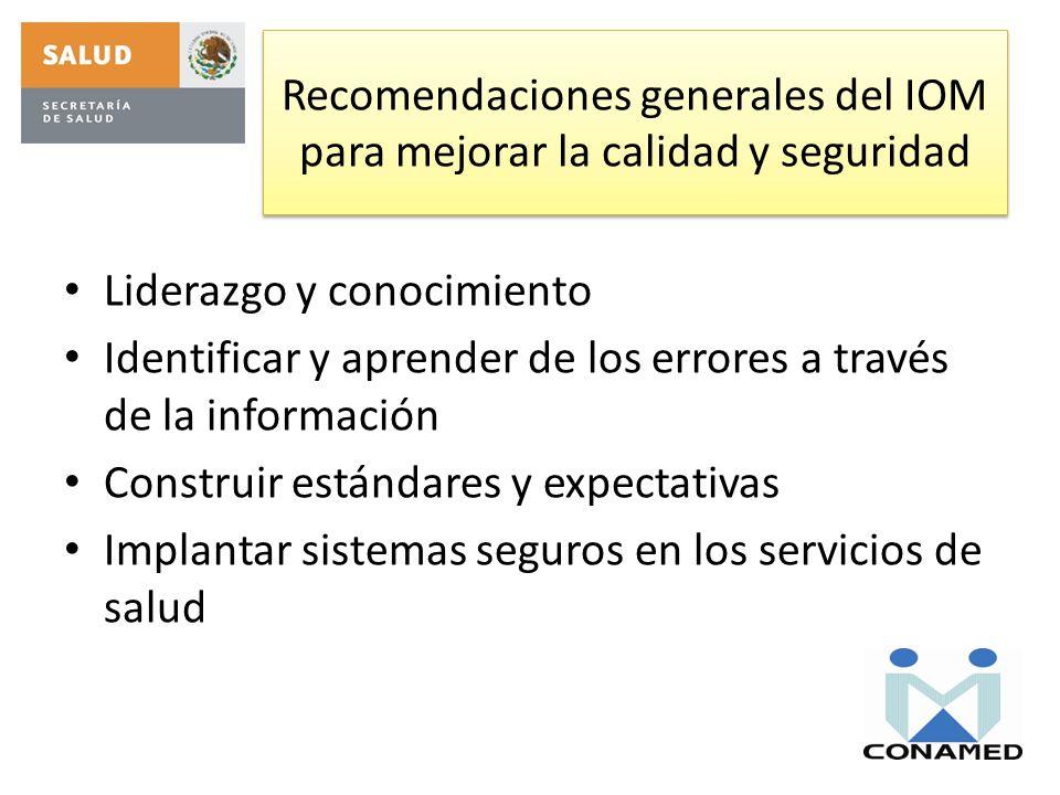 Recomendaciones generales del IOM para mejorar la calidad y seguridad Liderazgo y conocimiento Identificar y aprender de los errores a través de la in
