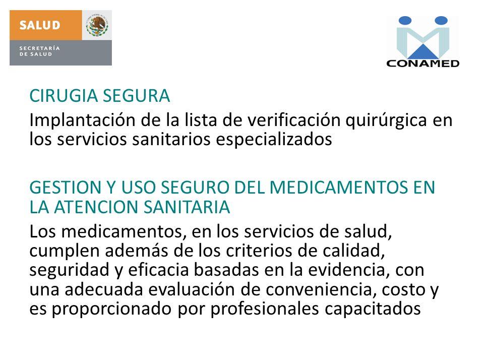 CIRUGIA SEGURA Implantación de la lista de verificación quirúrgica en los servicios sanitarios especializados GESTION Y USO SEGURO DEL MEDICAMENTOS EN