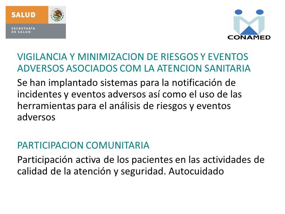 VIGILANCIA Y MINIMIZACION DE RIESGOS Y EVENTOS ADVERSOS ASOCIADOS COM LA ATENCION SANITARIA Se han implantado sistemas para la notificación de inciden