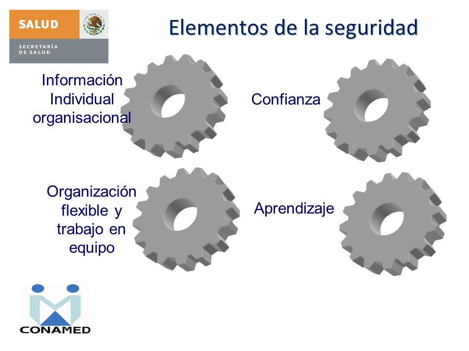 Elementos de la seguridad Información Individual organisacional Confianza Organización flexible y trabajo en equipo Aprendizaje
