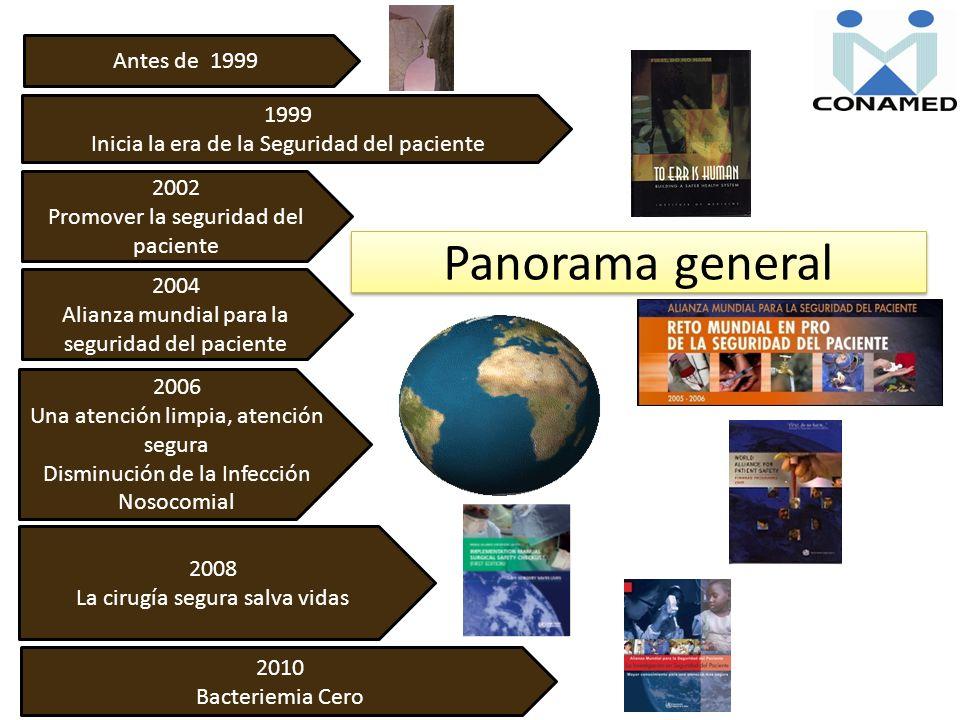 Panorama general Antes de 1999 1999 Inicia la era de la Seguridad del paciente 2002 Promover la seguridad del paciente 2004 Alianza mundial para la se