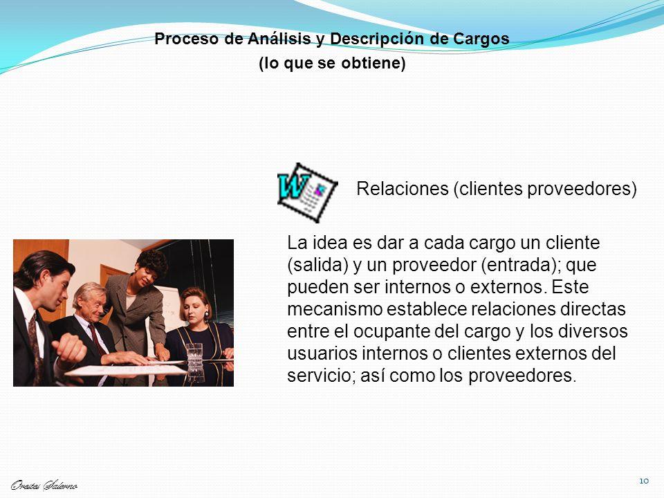 10 Relaciones (clientes proveedores) La idea es dar a cada cargo un cliente (salida) y un proveedor (entrada); que pueden ser internos o externos. Est