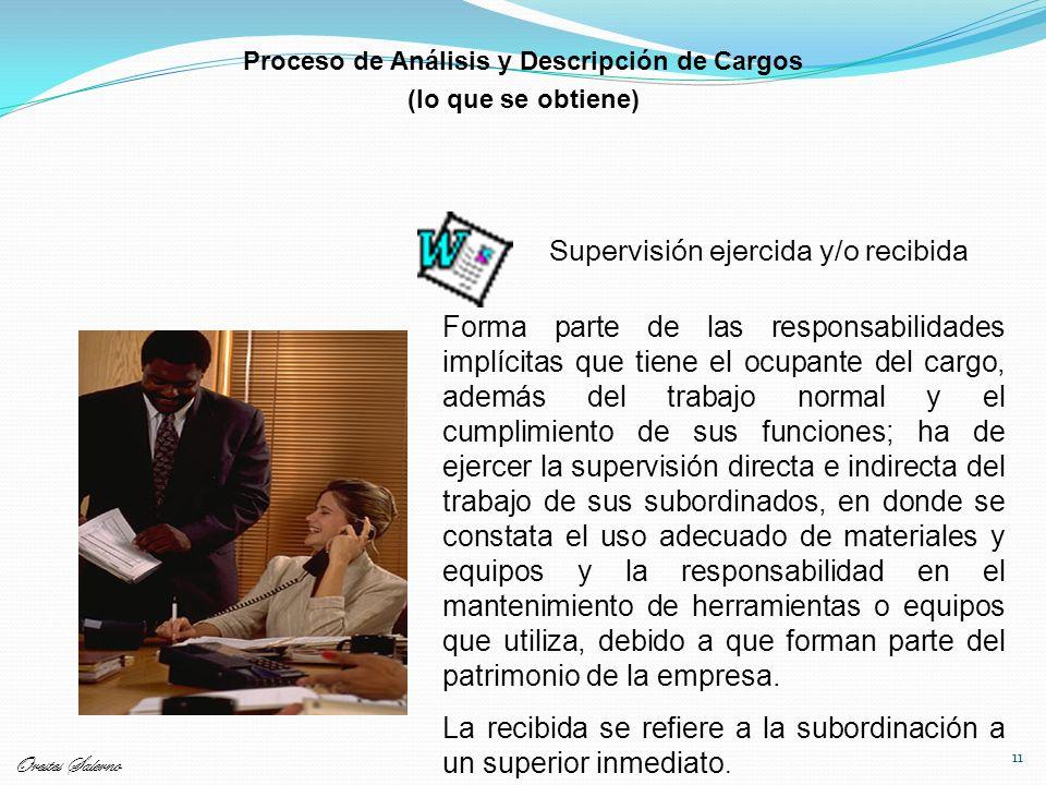 11 Supervisión ejercida y/o recibida Forma parte de las responsabilidades implícitas que tiene el ocupante del cargo, además del trabajo normal y el c