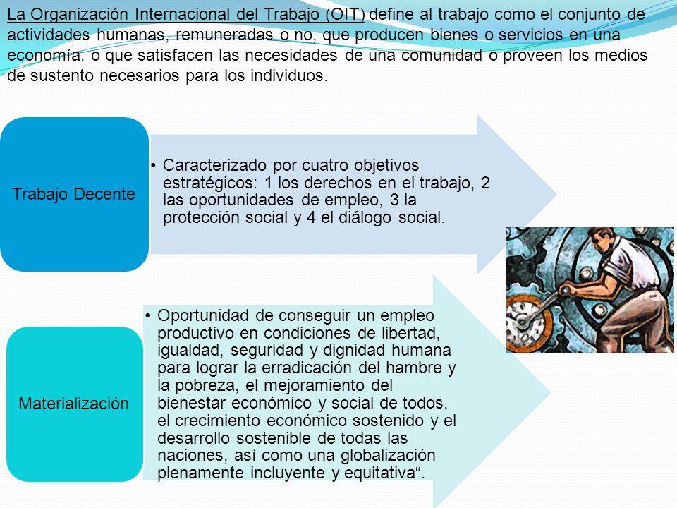 La Organización Internacional del Trabajo (OIT) define al trabajo como el conjunto de actividades humanas, remuneradas o no, que producen bienes o servicios en una economía, o que satisfacen las necesidades de una comunidad o proveen los medios de sustento necesarios para los individuos.