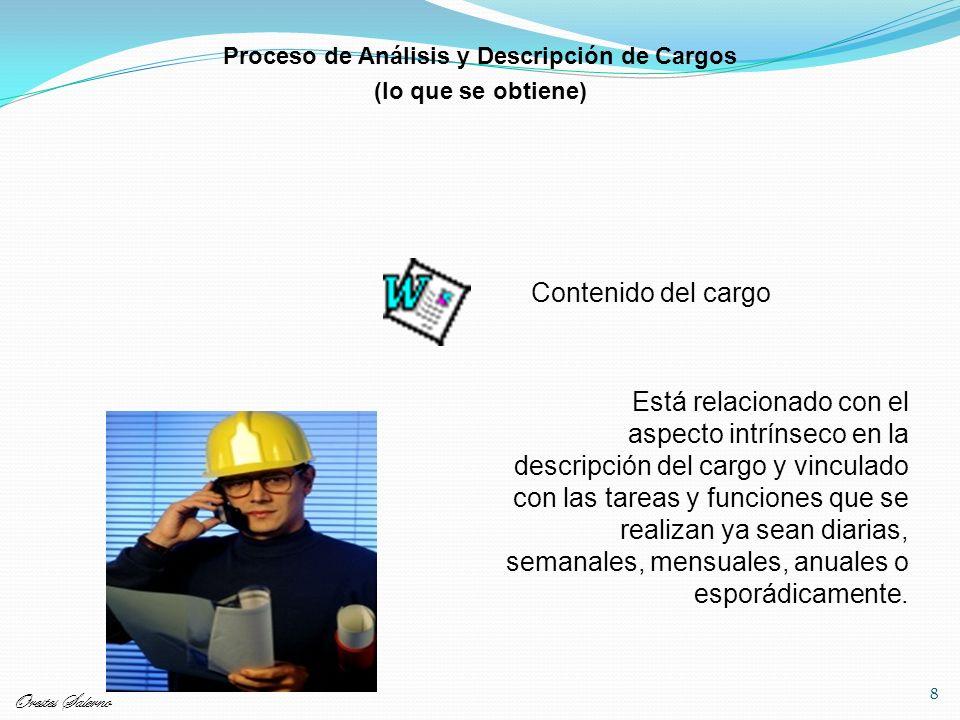8 Contenido del cargo Está relacionado con el aspecto intrínseco en la descripción del cargo y vinculado con las tareas y funciones que se realizan ya sean diarias, semanales, mensuales, anuales o esporádicamente.