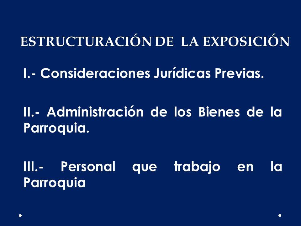 ESTRUCTURACIÓN DE LA EXPOSICIÓN I.- Consideraciones Jurídicas Previas. II.- Administración de los Bienes de la Parroquia. III.- Personal que trabajo e