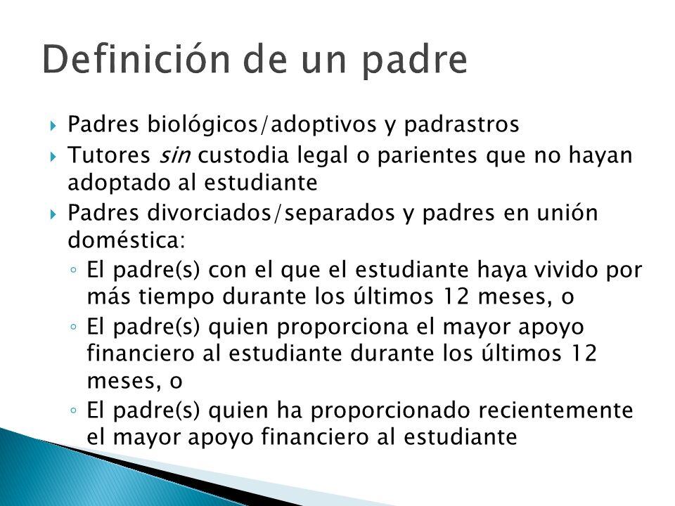 Padres biológicos/adoptivos y padrastros Tutores sin custodia legal o parientes que no hayan adoptado al estudiante Padres divorciados/separados y pad