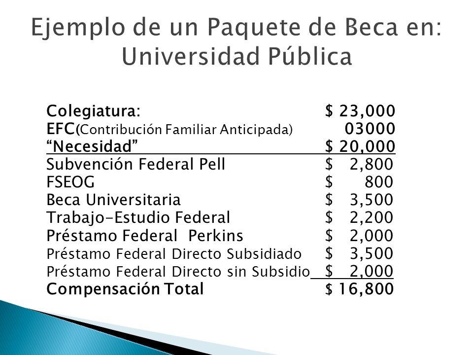 Colegiatura:$ 23,000 EFC (Contribución Familiar Anticipada) 03000 Necesidad$ 20,000 Subvención Federal Pell $ 2,800 FSEOG$ 800 Beca Universitaria $ 3,