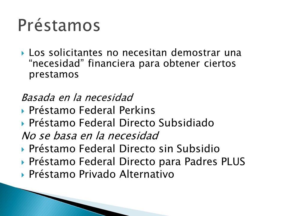 Los solicitantes no necesitan demostrar una necesidad financiera para obtener ciertos prestamos Basada en la necesidad Préstamo Federal Perkins Présta