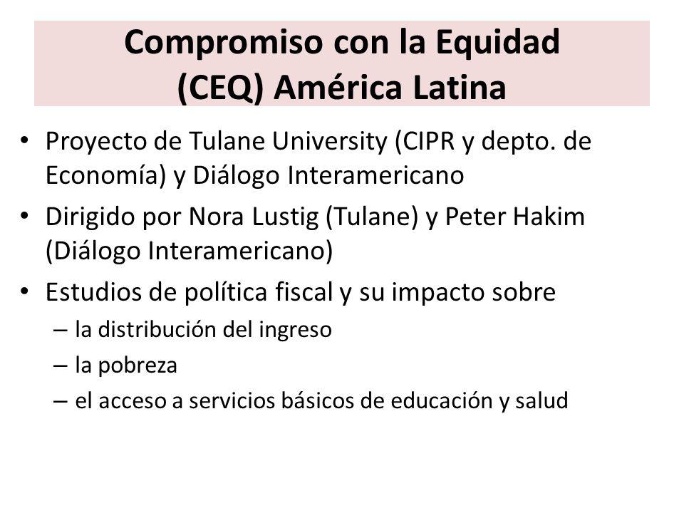 Compromiso con la Equidad (CEQ) América Latina Hasta la fecha incluye 12 países de América Látina – Expansión a 3 países adicionales de América Latina – Expansión a 6 países de otras regiones del mundo – Estudio sobre Estados Unidos y comparación Brasil-EE.UU.