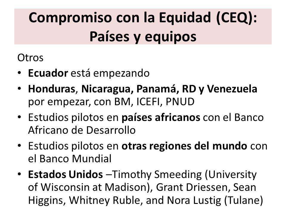 Compromiso con la Equidad (CEQ): Países y equipos Otros Ecuador está empezando Honduras, Nicaragua, Panamá, RD y Venezuela por empezar, con BM, ICEFI,
