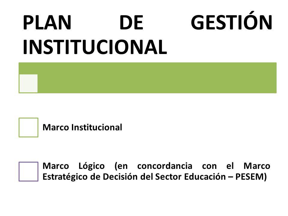 PLAN DE GESTIÓN INSTITUCIONAL Marco Institucional Marco Lógico (en concordancia con el Marco Estratégico de Decisión del Sector Educación – PESEM)