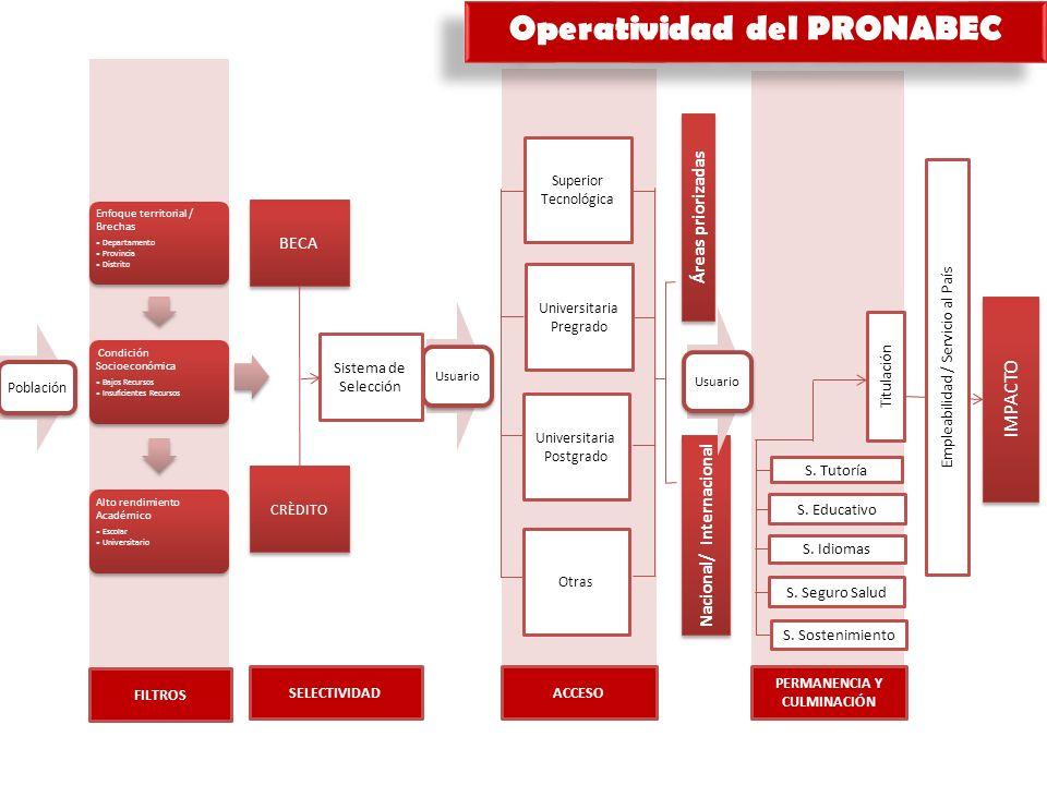 BECA CRÈDITO Universitaria Pregrado Universitaria Postgrado Otras Áreas priorizadas Nacional/ Internacional Sistema de Selección Superior Tecnológica Titulación S.