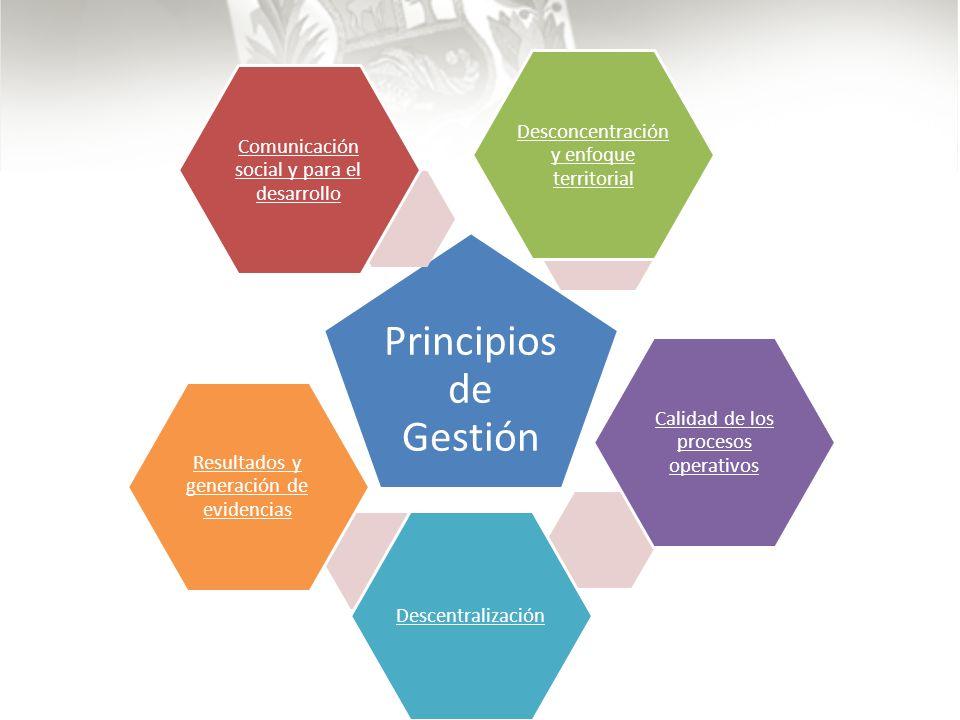 Principio s de Gestión Comunicación social y para el desarrollo Desconcentración y enfoque territorial Calidad de los procesos operativos Descentralización Resultados y generación de evidencias