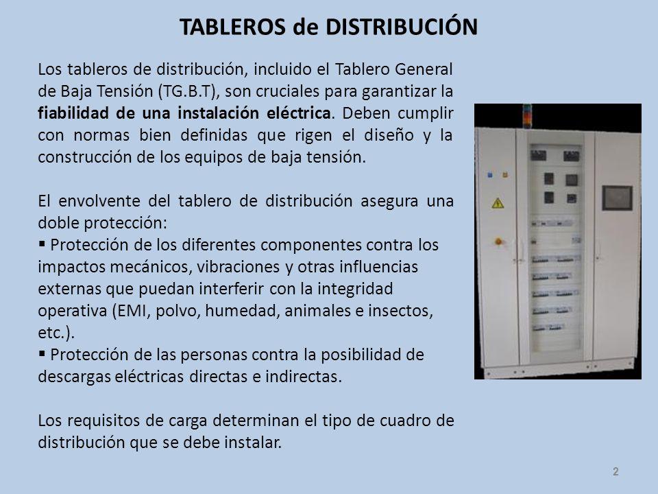 TABLEROS de DISTRIBUCIÓN 2 Los tableros de distribución, incluido el Tablero General de Baja Tensión (TG.B.T), son cruciales para garantizar la fiabil