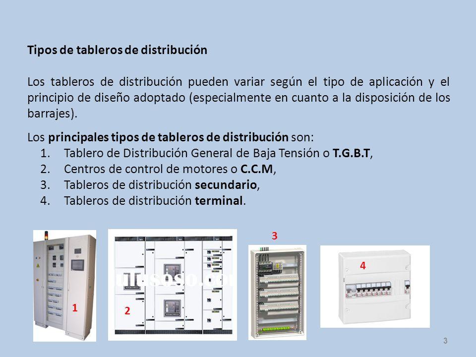 3 Tipos de tableros de distribución Los tableros de distribución pueden variar según el tipo de aplicación y el principio de diseño adoptado (especial
