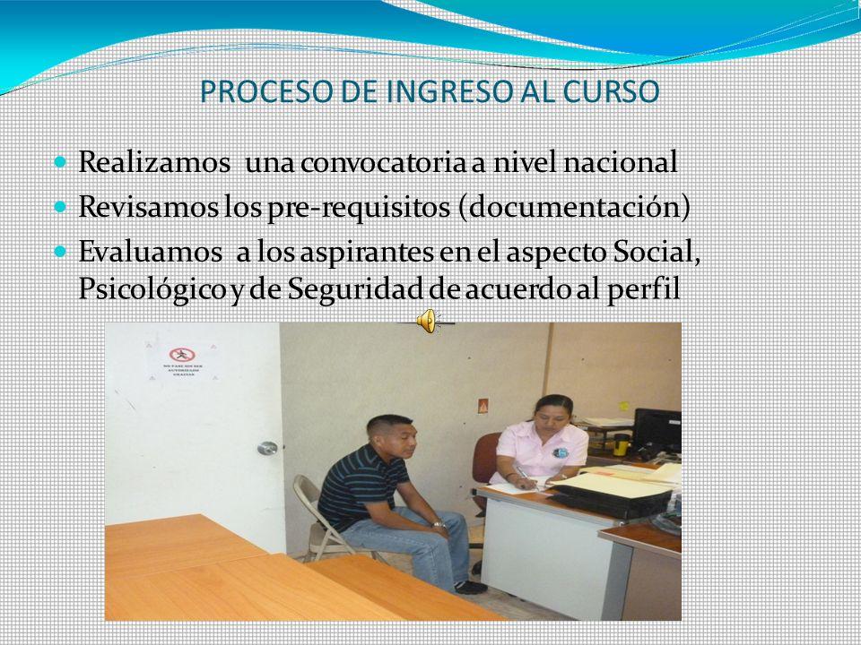 PROCESO DE INGRESO AL CURSO Realizamosuna convocatoria a nivel nacional Revisamos los pre-requisitos (documentación) Evaluamosa los aspirantes en el a