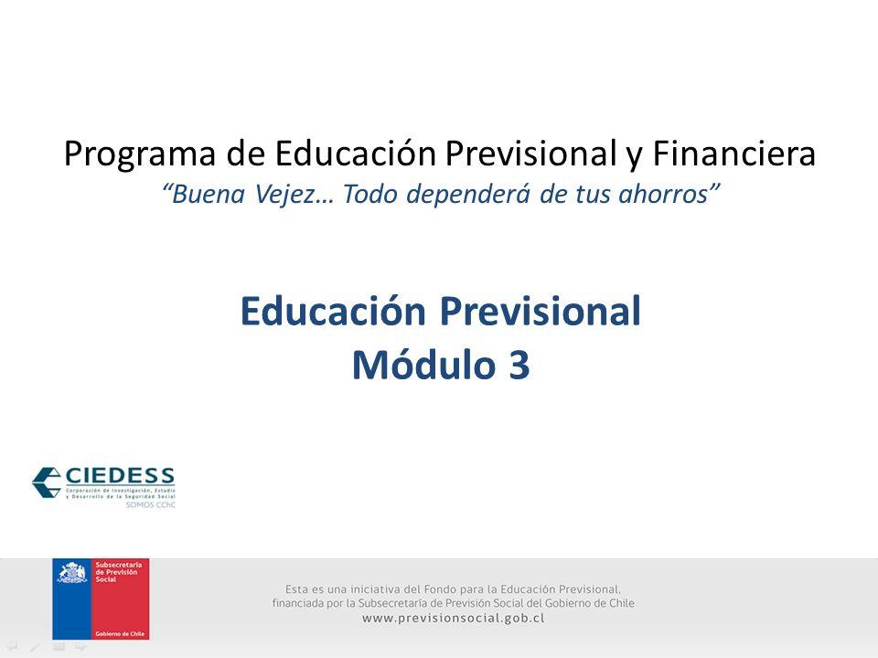 Programa de Educación Previsional y Financiera Buena Vejez… Todo dependerá de tus ahorros Educación Previsional Módulo 3
