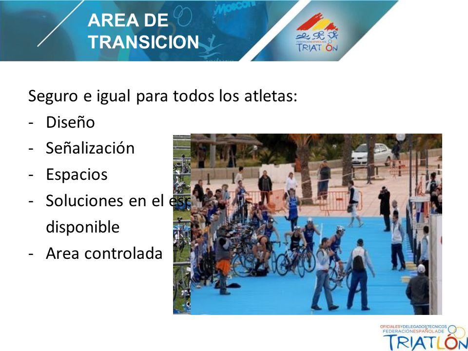 Seguro e igual para todos los atletas: -Diseño -Señalización -Espacios -Soluciones en el espacio disponible -Area controlada AREA DE TRANSICION