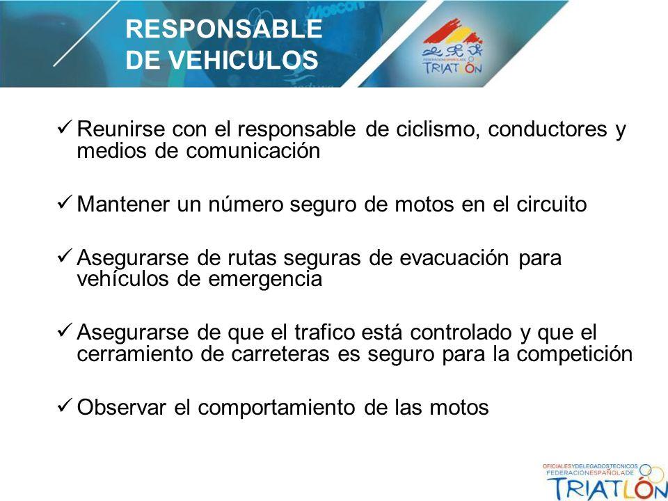 Reunirse con el responsable de ciclismo, conductores y medios de comunicación Mantener un número seguro de motos en el circuito Asegurarse de rutas se